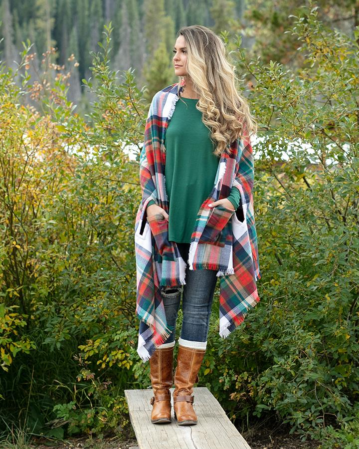 Grace & Lace Winter Weight Pocket Poncho - Holiday Cheer Plaid