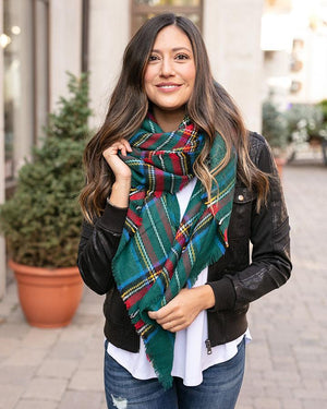 Grace & Lace Winter Weight Pocket Poncho | Andres Plaid