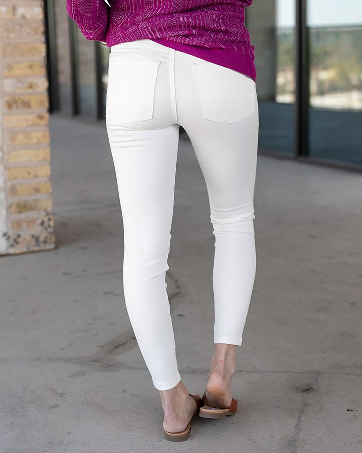 Grace & Lace NON-DISTRESSED Ankle Jeggings - WHITE