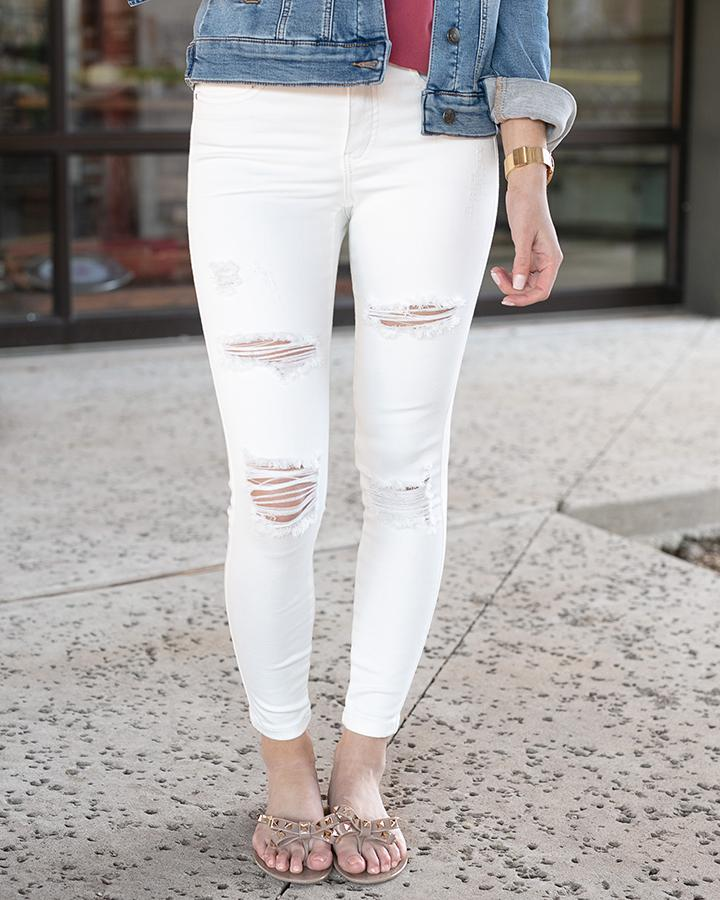 Grace & Lace DISTRESSED Ankle Jeggings - WHITE