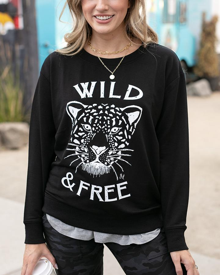 Grace & Lace | Graphic Sweatshirt | Wild & Free | Black