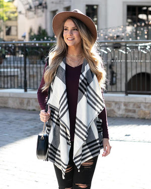 Grace & Lace Winter Plaid Vest - Ivory Black Plaid