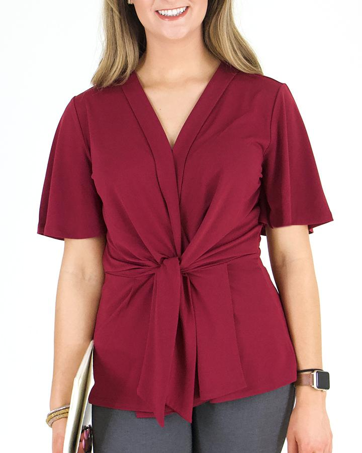 Grace & Lace | Tie Front Work Top | Wine