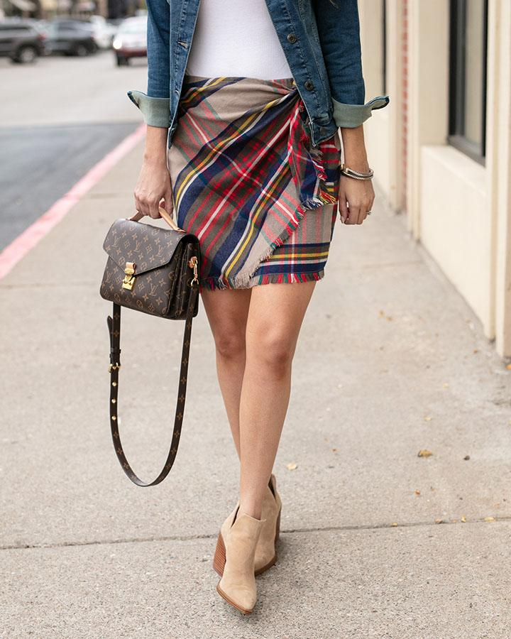 Grace & Lace | Stretch Flex Plaid Wrap SKIRT | CAMEL Plaid