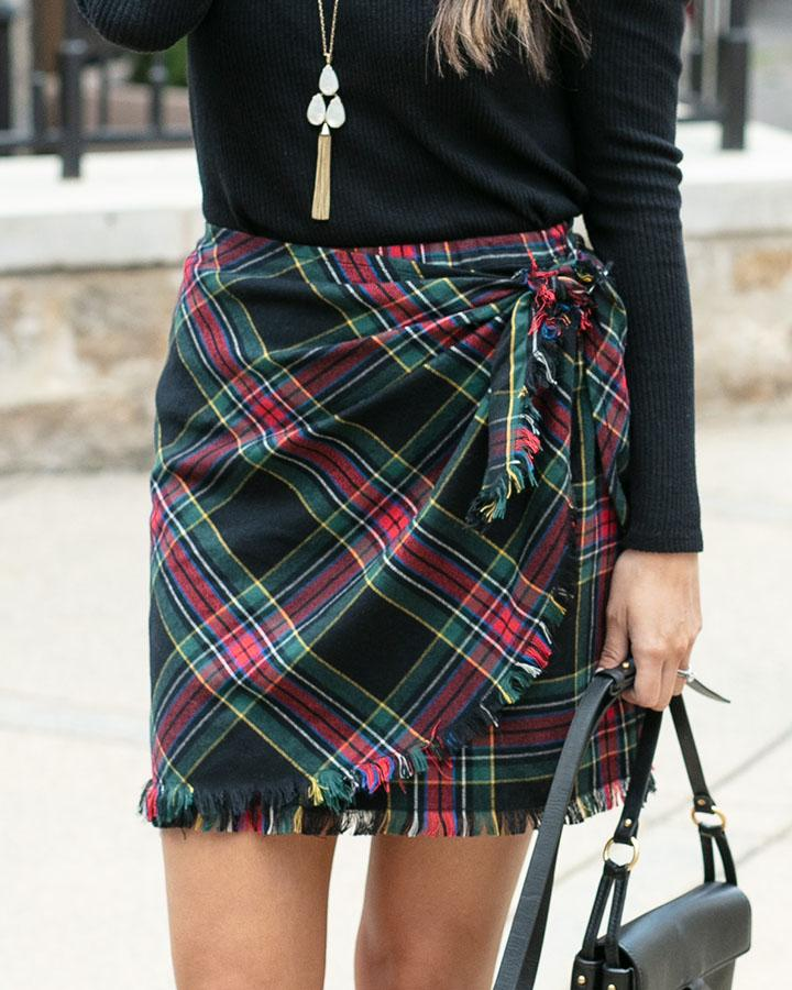 Grace & Lace | Stretch Flex Plaid Wrap SKIRT | Black Plaid