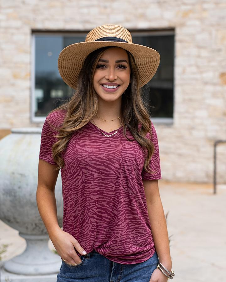 Grace & Lace | Zebra Burnout Tee | Two-Tone Rose