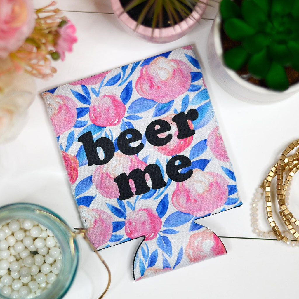 Beer Me | Floral | Can Coolie