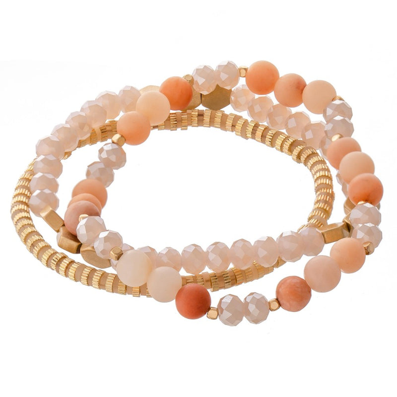 *FINAL SALE* Liza Semi Precious Beaded Bracelet Set | Blush Pink
