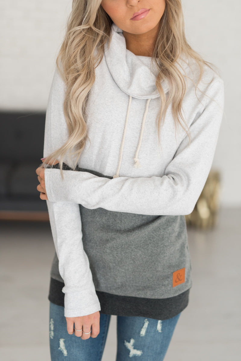Ampersand Cowl Neck Sweatshirt - Monochrome