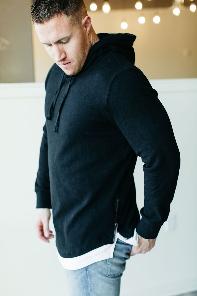 MENS Ampersand Ave Domination Layered Hoodie - Black
