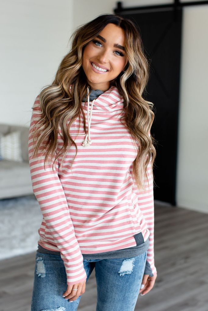 Doublehood Sweatshirt in Pink Stripe