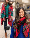 Grace & Lace | Reversible Winter Weight Pocket Poncho | Red Tartan & Black