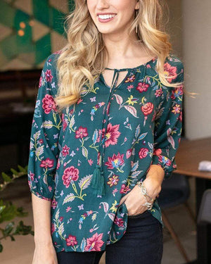 Grace & Lace Skye Floral Top | Everglade Floral