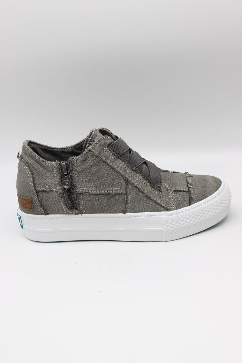 Blowfish Mamba |Wedge Sneaker| Slate Grey Colour Washed Canvas