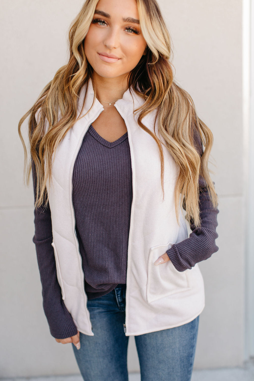 Ampersand Herringbone Vest - Blush