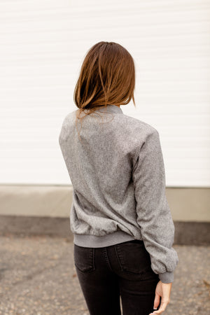 *FINAL SALE* Ampersand Herringbone Bomber | Grey