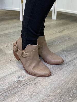 Sochi Buckle Booties - Taupe Distressed