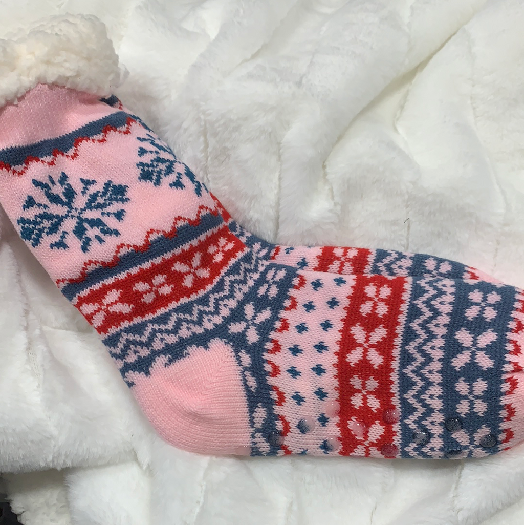 *FINAL SALE* Sherpa Christmas Socks | Ski Lodge | Light Pink, Blue & Red