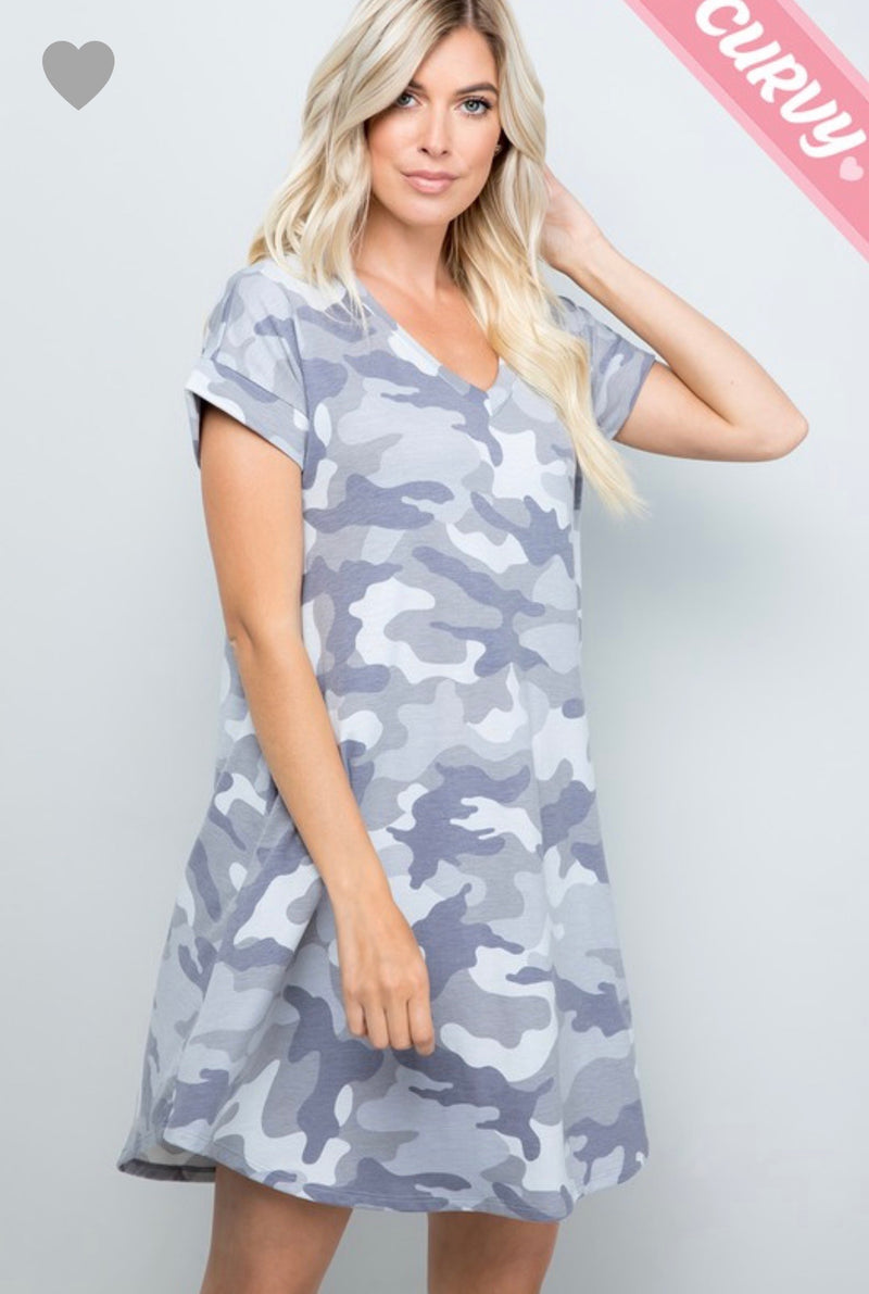 Wilderness Dress - SHORT - GREY Camo