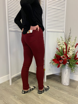 Hyper Stretch Skinnies | Burgundy
