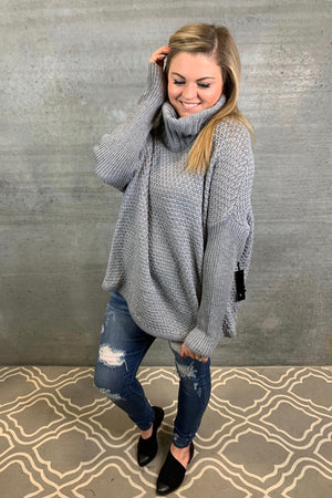Knit Cowl Neck Sweater - Grey