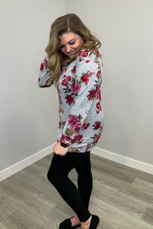 Cross Front Floral Top - Grey