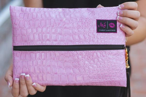 Makeup Junkie Bag - Blush (Black Zipper)