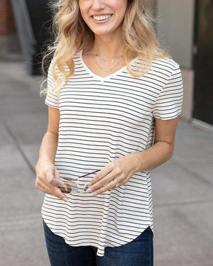Grace & Lace | Perfect V-Neck Tee | Ivory & Black Mini Striped