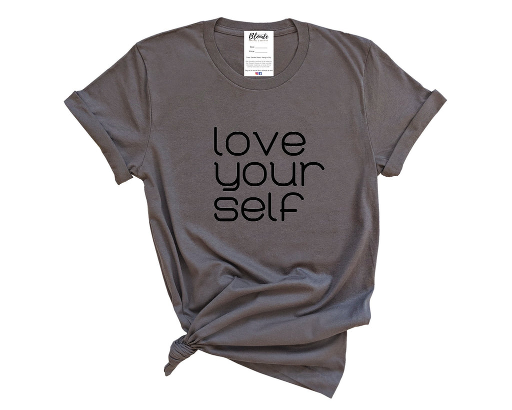 Love Your Self T-Shirt - Heather Grey Tee | Black Font