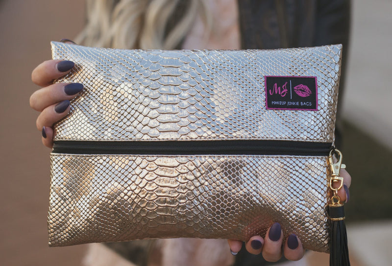 Makeup Junkie Bag - Rose Gold Python
