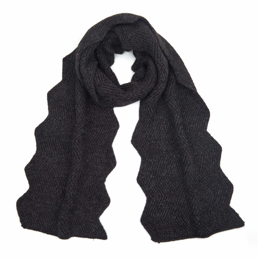 Chevron Knit Scarf | Black