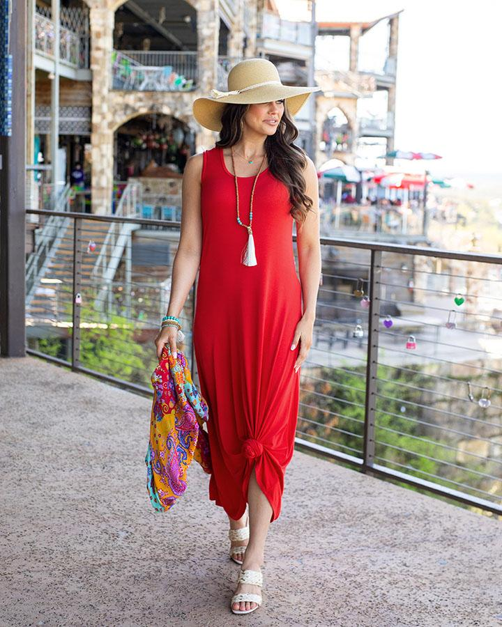 *RESTOCK* Grace & Lace | Sleeveless Maxi Dress | Red