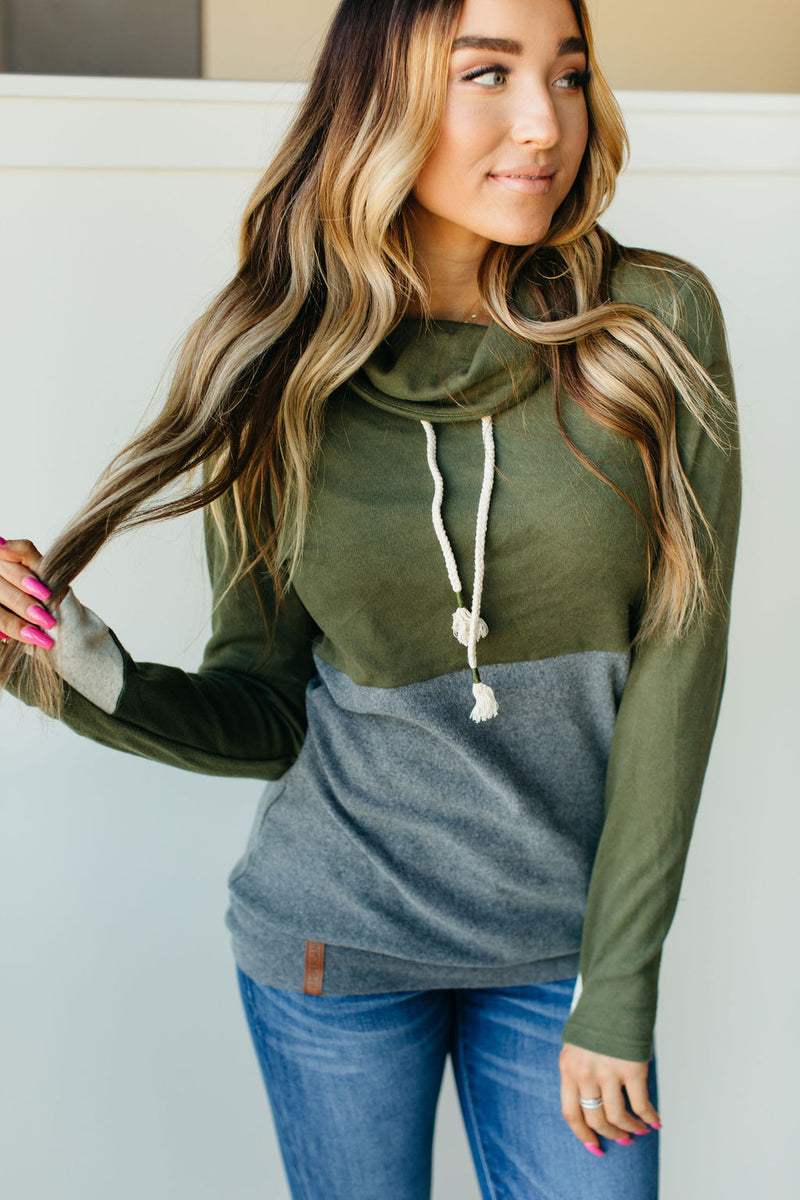 Ampersand Cowl Neck Sweatshirt - Sparks Fly