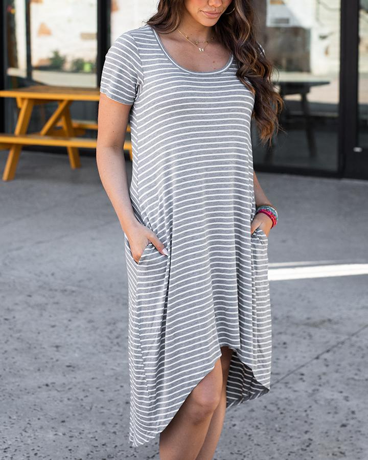 *NEW* Grace & Lace | Spring Dream Dress | Heathered Grey Stripe