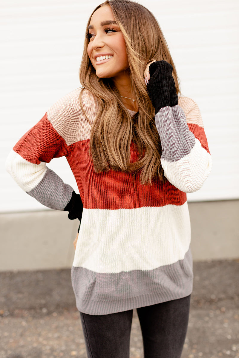 Ampersand The Paige Sweater | Rust & Cream