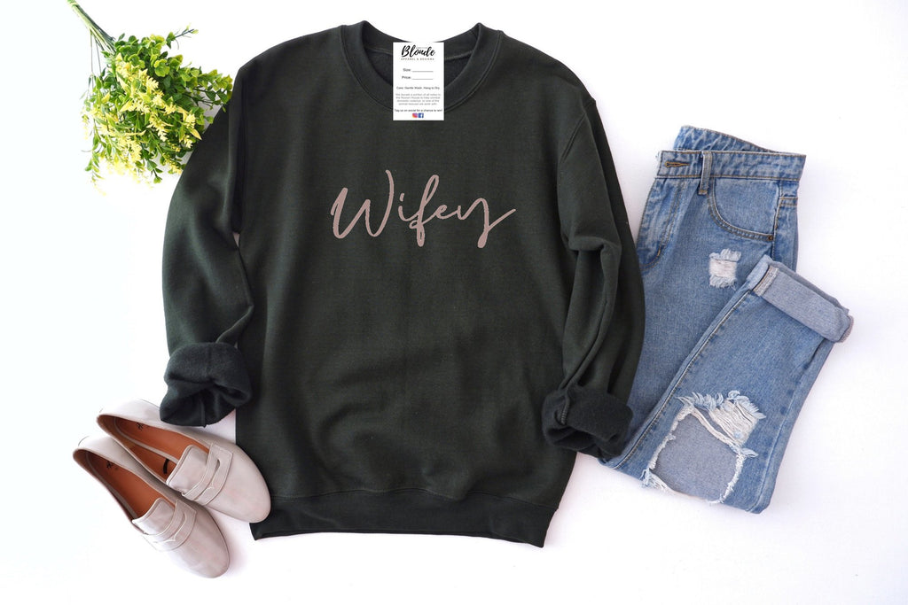 Wifey - Black Sweater | Rose Gold Font