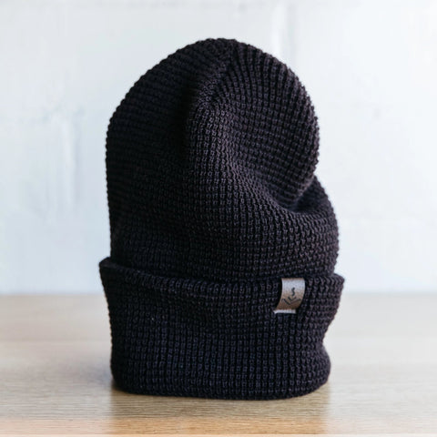 Waffle Weave Beanie w/ leather label-tag