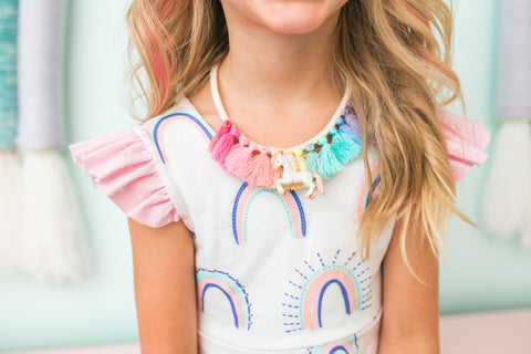 Gemma+Filo Rainbow Unicorn Tassel Necklace