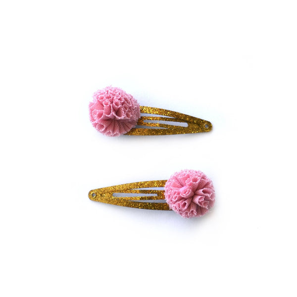 Pink Tulle Hair Clips