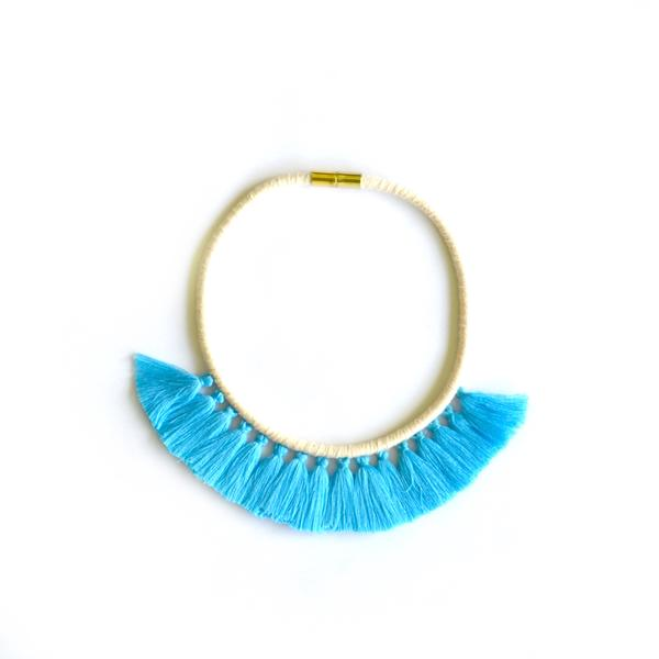 Aquamarine Tassel Necklace