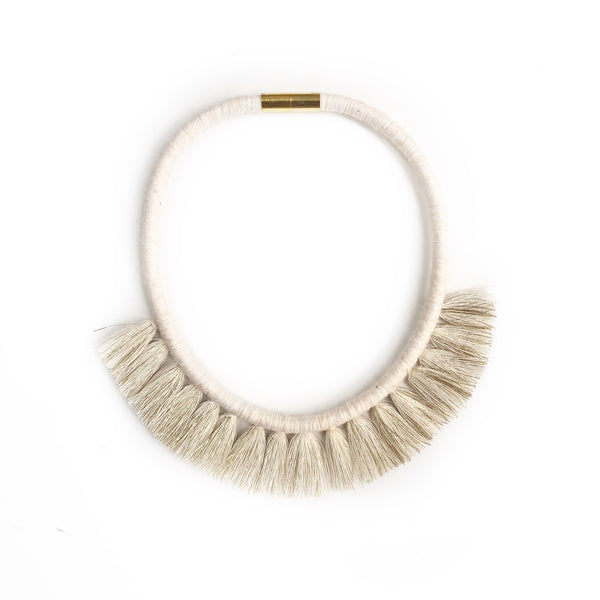 Ivory and Gold Tassel Necklace