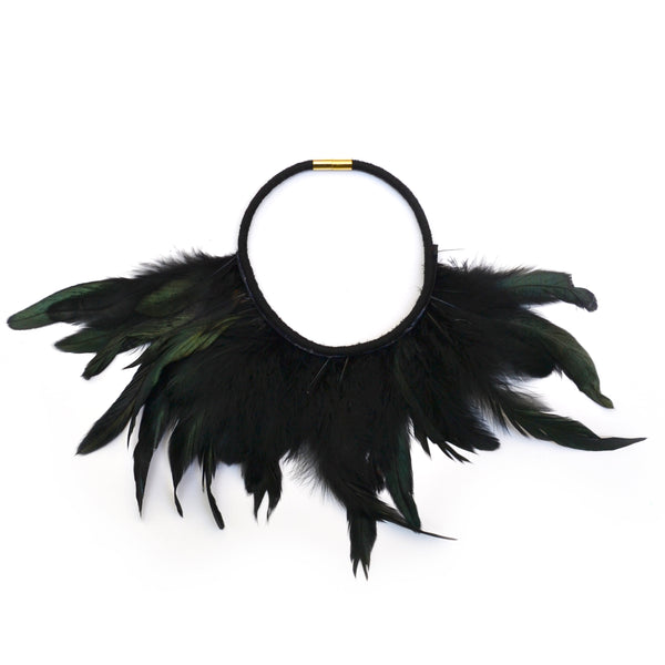 Iridescent Black Feather Necklace