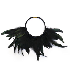 Iridescent Black Feather Necklace - gemma + filo