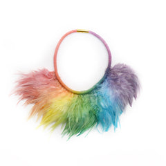 Primary Rainbow Feather Necklace