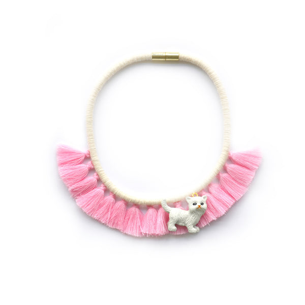 Pink Kitten Tassel Necklace