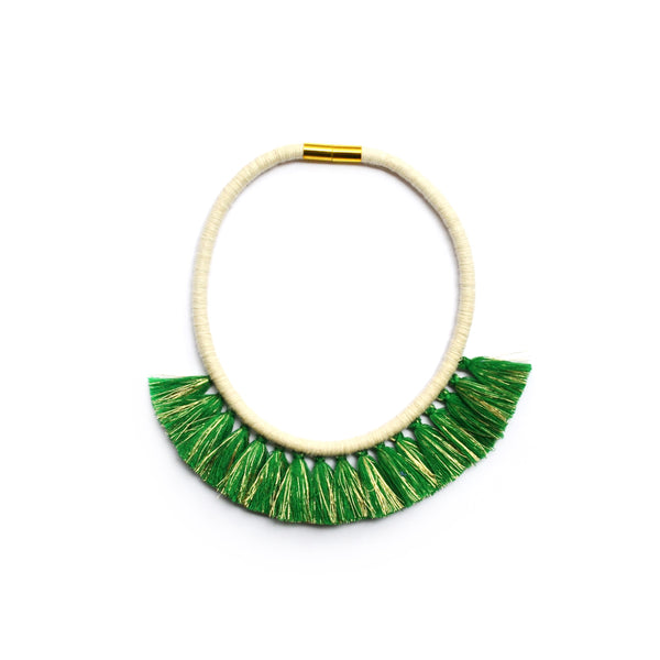 Evergreen Gold Tassel Necklace