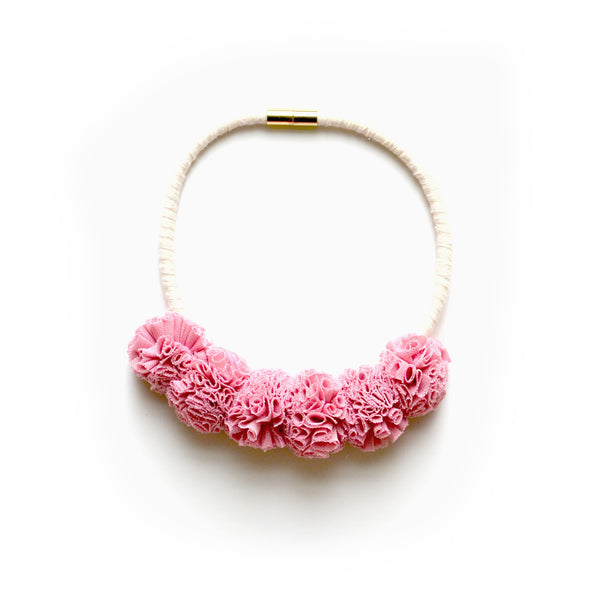 Pink Tulle Bib Necklace
