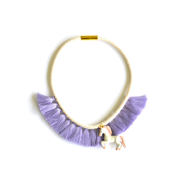 Lavender Unicorn Tassel Necklace