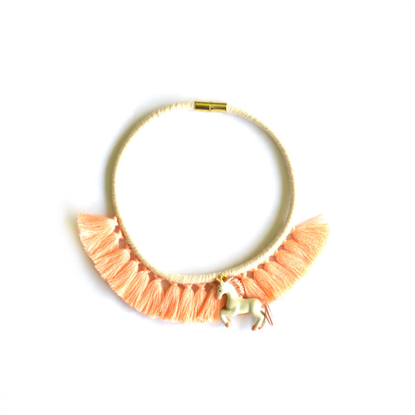 Peach Unicorn Tassel Necklace