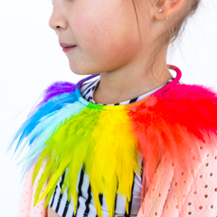 Rainbow Color Block Feather Necklace